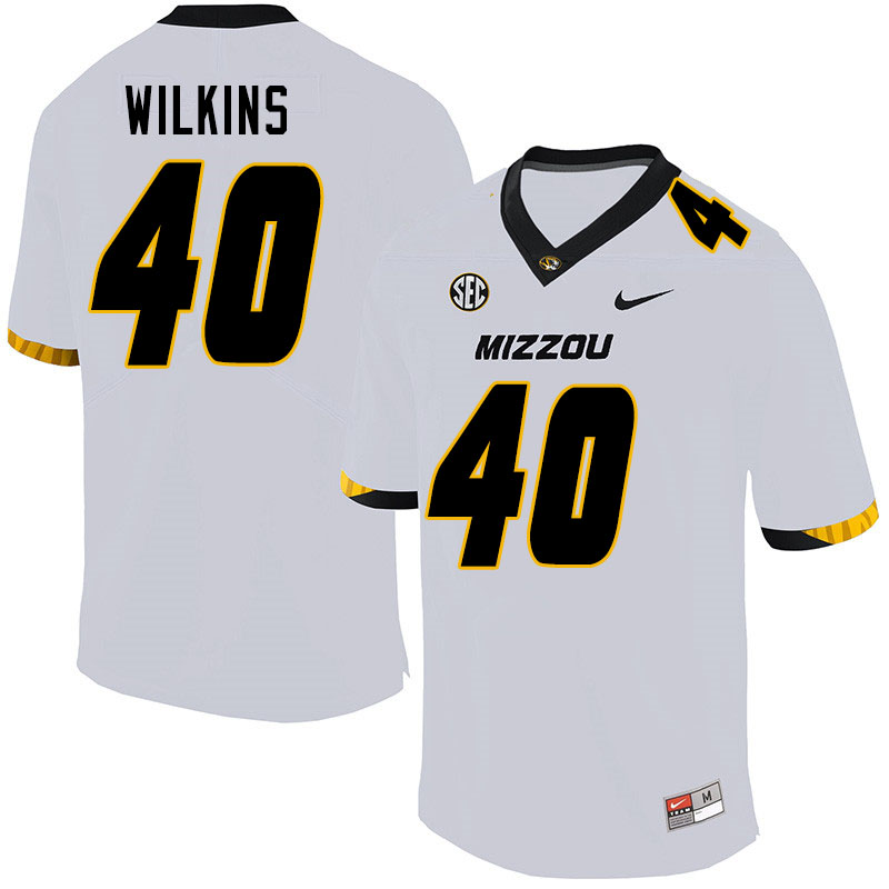 Men #40 Cameron Wilkins Missouri Tigers College Football Jerseys Sale-White