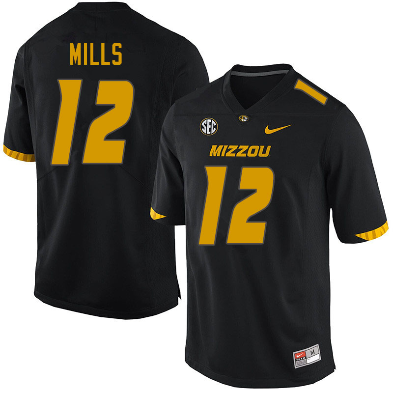 Men #12 Chris Mills Missouri Tigers College Football Jerseys Sale-Black