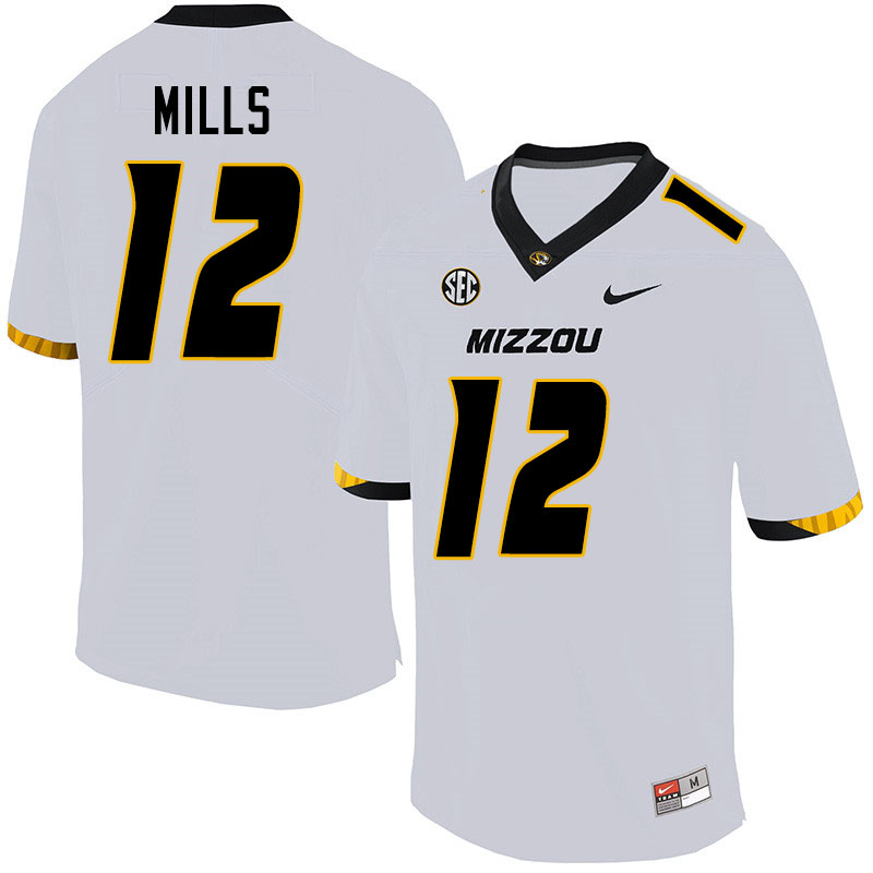 Men #12 Chris Mills Missouri Tigers College Football Jerseys Sale-White