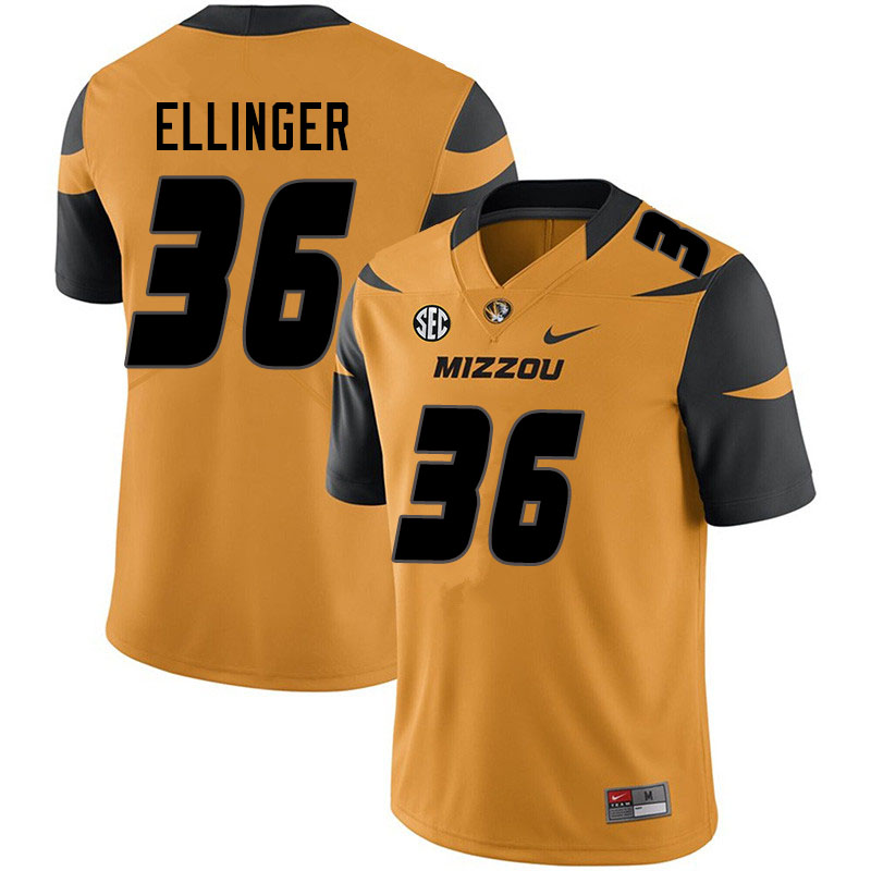 Men #36 Daniel Ellinger Missouri Tigers College Football Jerseys Sale-Yellow