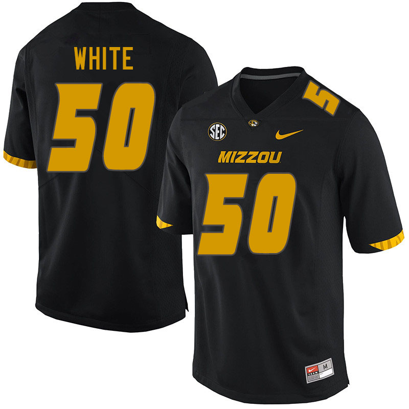 Men #50 Hyrin White Missouri Tigers College Football Jerseys Sale-Black