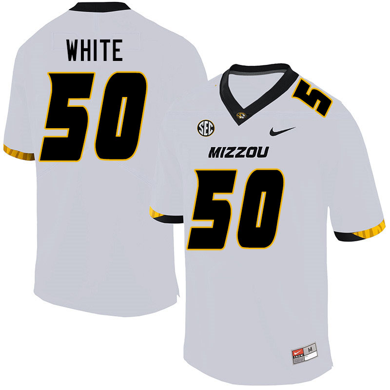 Men #50 Hyrin White Missouri Tigers College Football Jerseys Sale-White