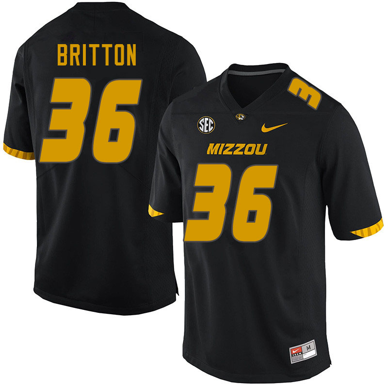 Men #36 Joe Britton Missouri Tigers College Football Jerseys Sale-Black