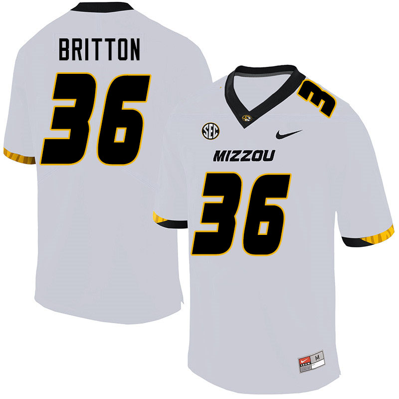 Men #36 Joe Britton Missouri Tigers College Football Jerseys Sale-White