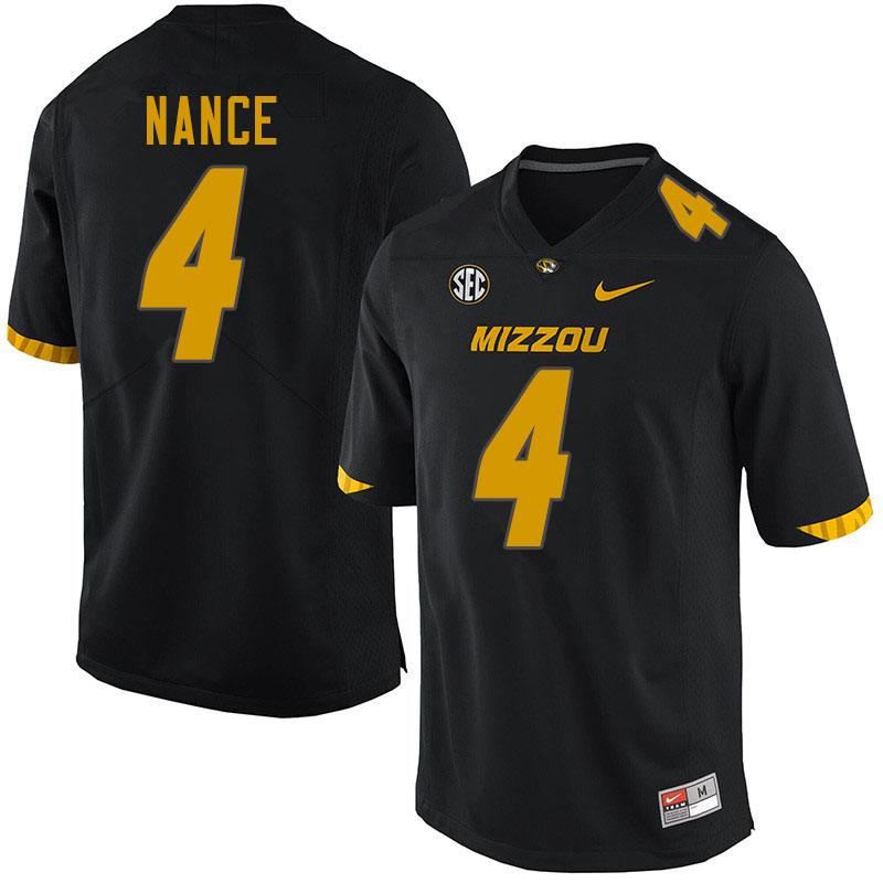 Men #4 Jonathan Nance Missouri Tigers College Football Jerseys Sale-Black