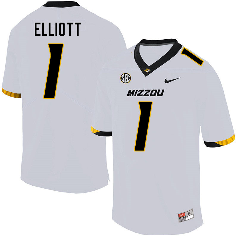 Men #1 Jordan Elliott Missouri Tigers College Football Jerseys Sale-White