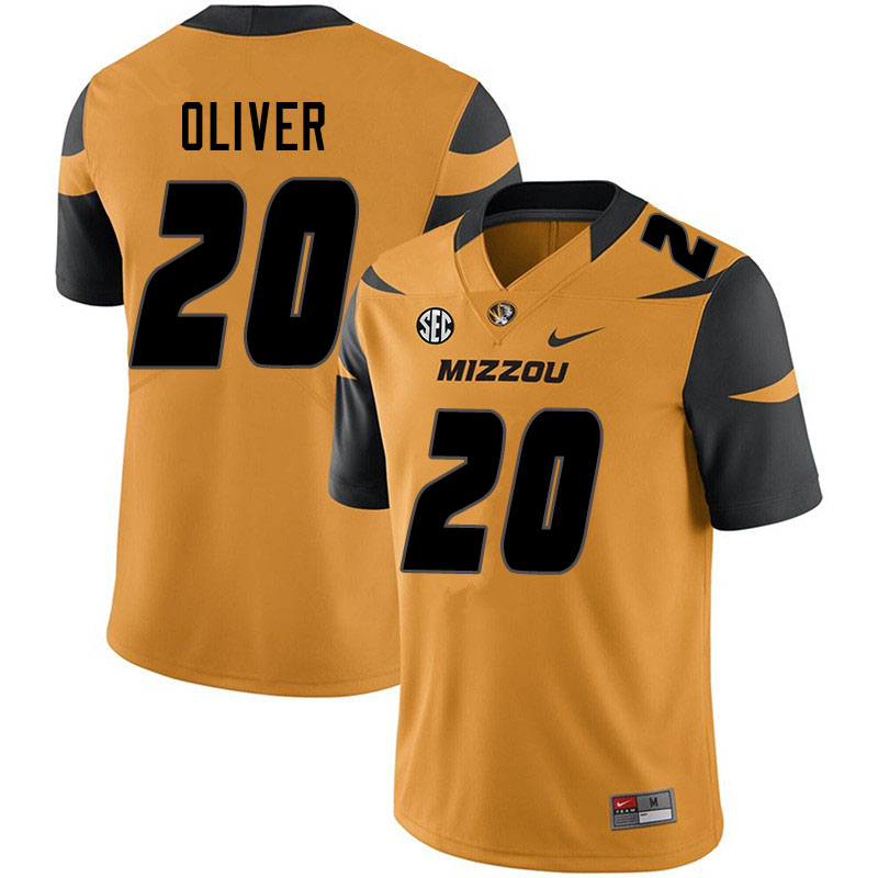 Men #20 Khalil Oliver Missouri Tigers College Football Jerseys Sale-Yellow