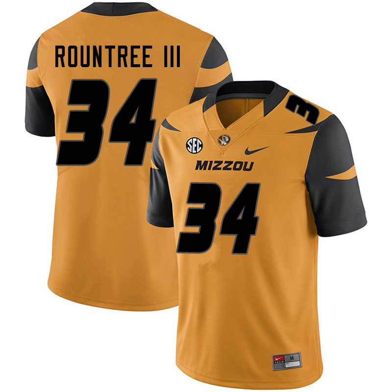 Men #34 Larry Rountree III Missouri Tigers College Football Jerseys Sale-Yellow