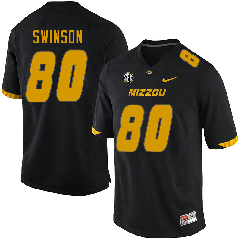 Men #80 Messiah Swinson Missouri Tigers College Football Jerseys Sale-Black