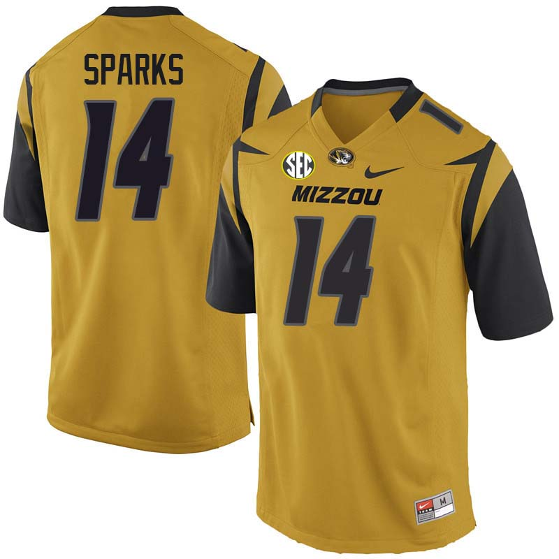 Men #14 Adam Sparks Missouri Tigers College Football Jerseys Sale-Yellow