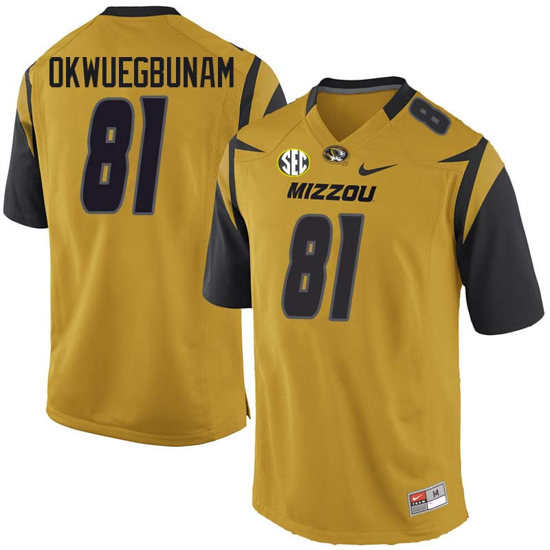 Men #81 Albert Okwuegbunam Missouri Tigers College Football Jerseys Sale-Yellow