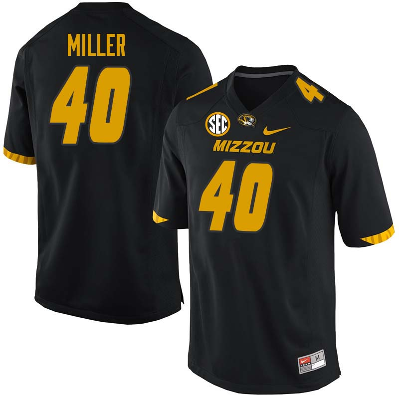 Men #40 Aubrey Miller Missouri Tigers College Football Jerseys Sale-Black