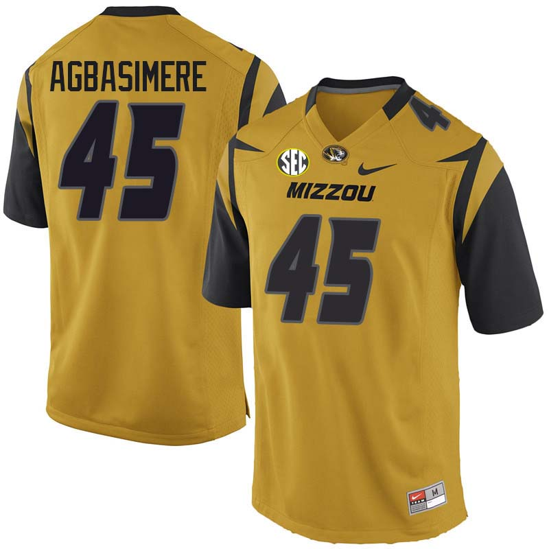 Men #45 Franklin Agbasimere Missouri Tigers College Football Jerseys Sale-Yellow