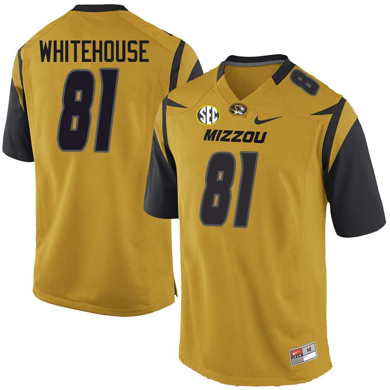 Men #81 Harley Whitehouse Missouri Tigers College Football Jerseys Sale-Yellow