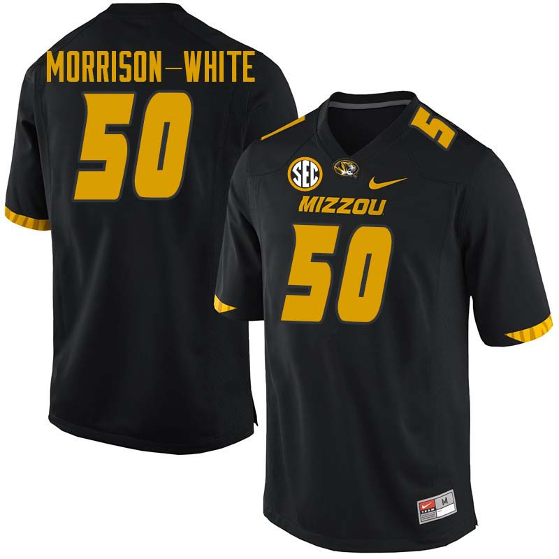Men #50 Hyrin Morrison-White Missouri Tigers College Football Jerseys Sale-Black