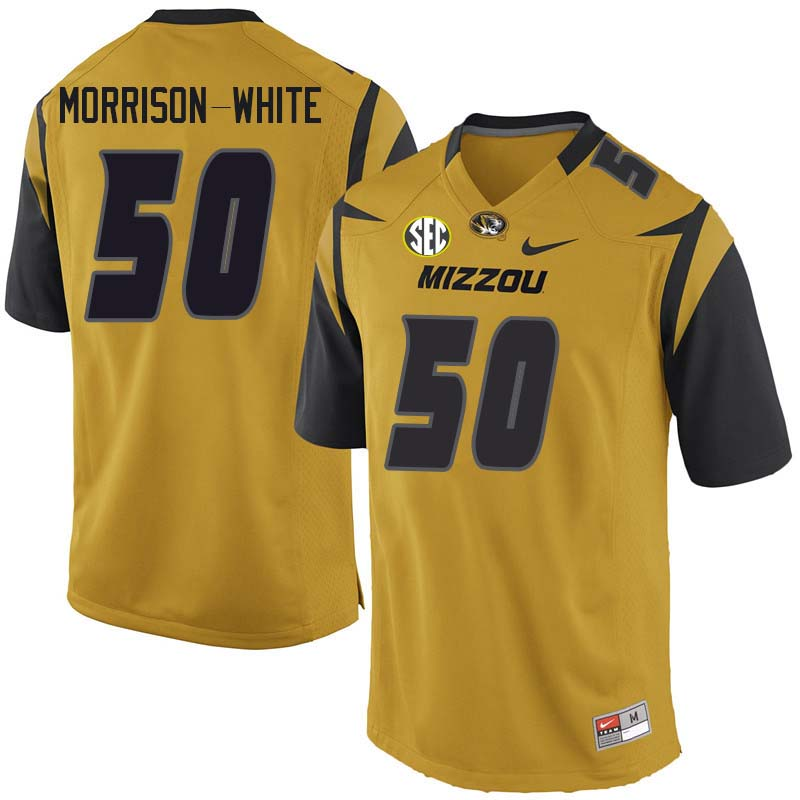 Men #50 Hyrin Morrison-White Missouri Tigers College Football Jerseys Sale-Yellow