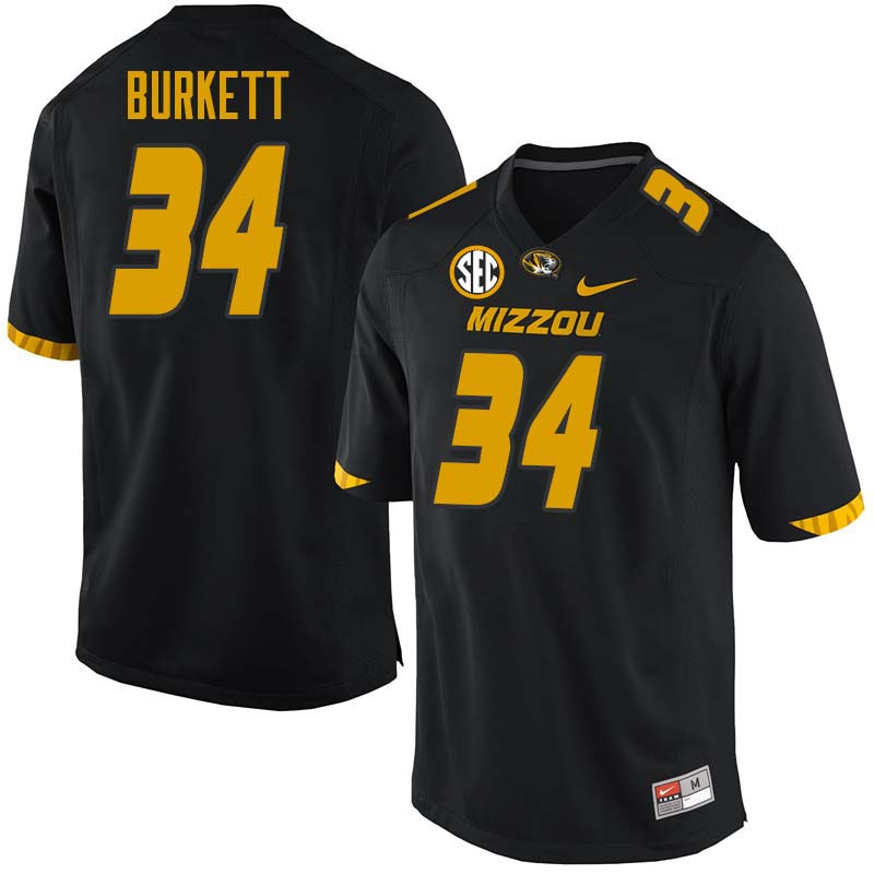 Men #34 Joey Burkett Missouri Tigers College Football Jerseys Sale-Black