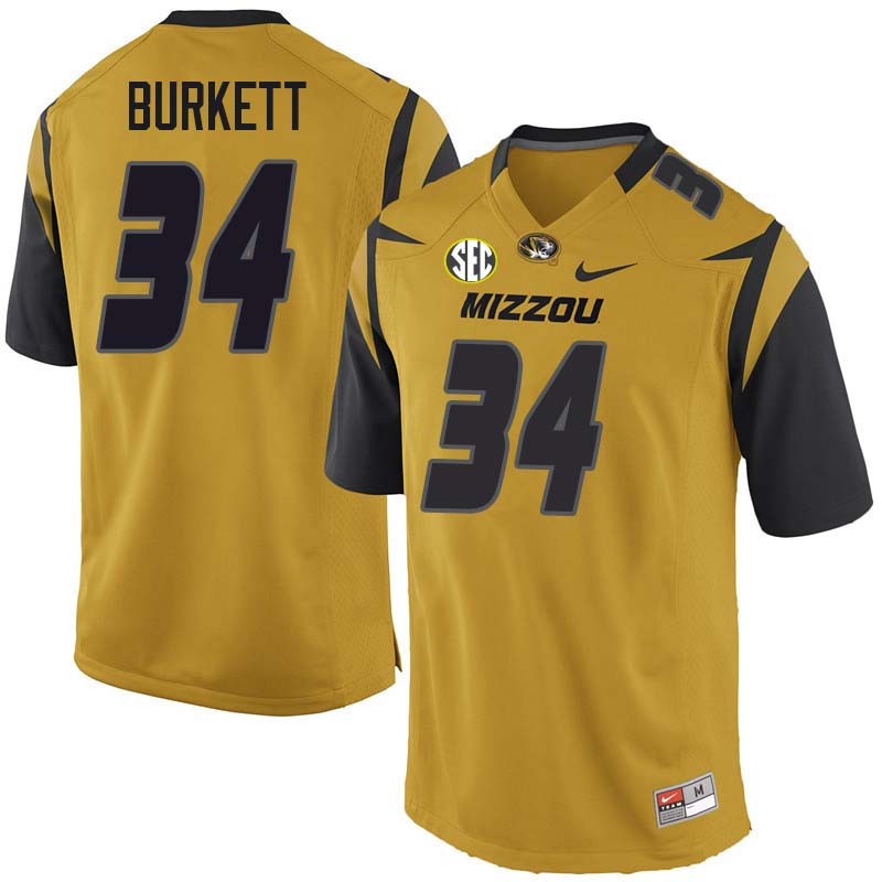 Men #34 Joey Burkett Missouri Tigers College Football Jerseys Sale-Yellow