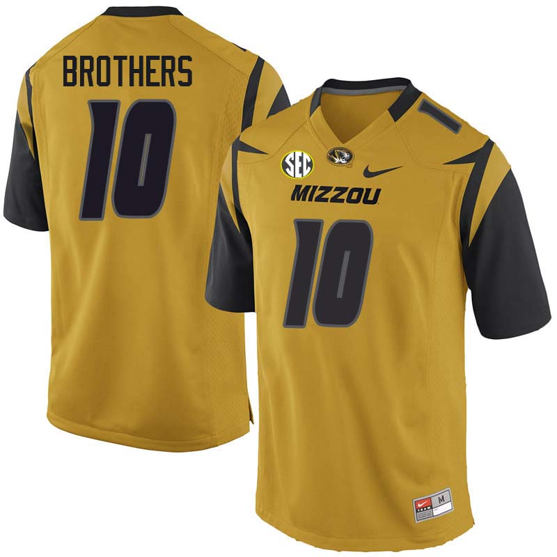 Men #10 Kentrell Brothers Missouri Tigers College Football Jerseys Sale-Yellow