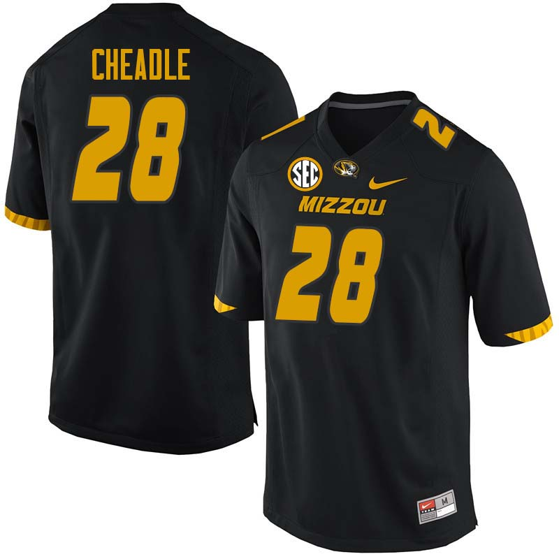 Men #28 Logan Cheadle Missouri Tigers College Football Jerseys Sale-Black