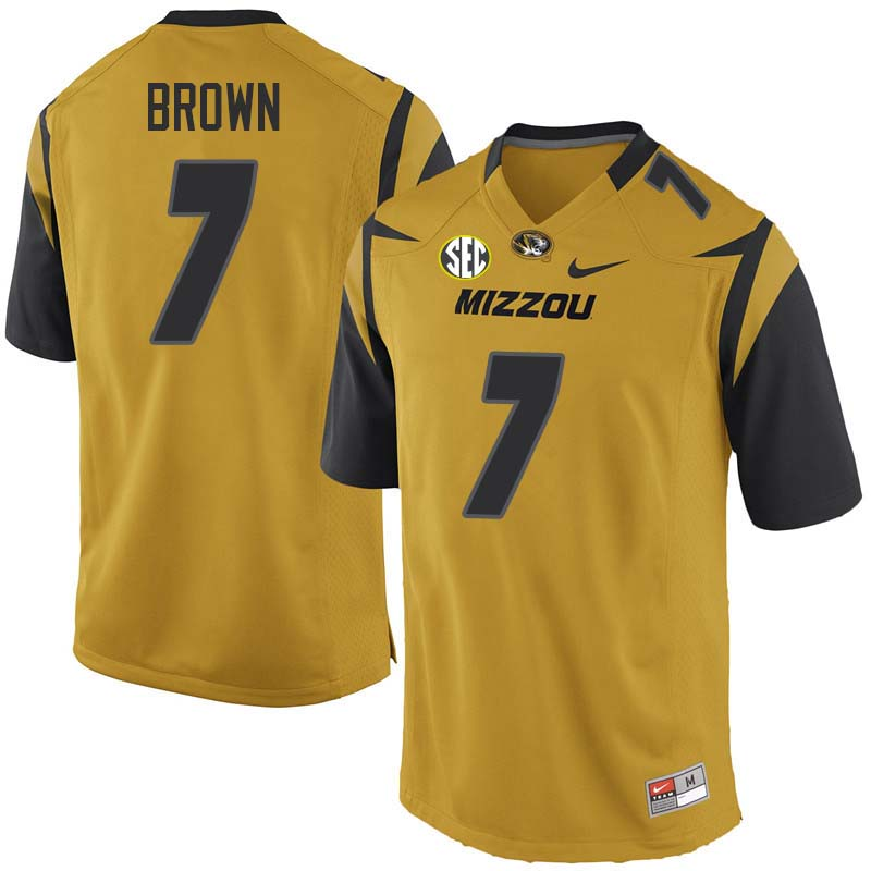 Men #7 Nate Brown Missouri Tigers College Football Jerseys Sale-Yellow