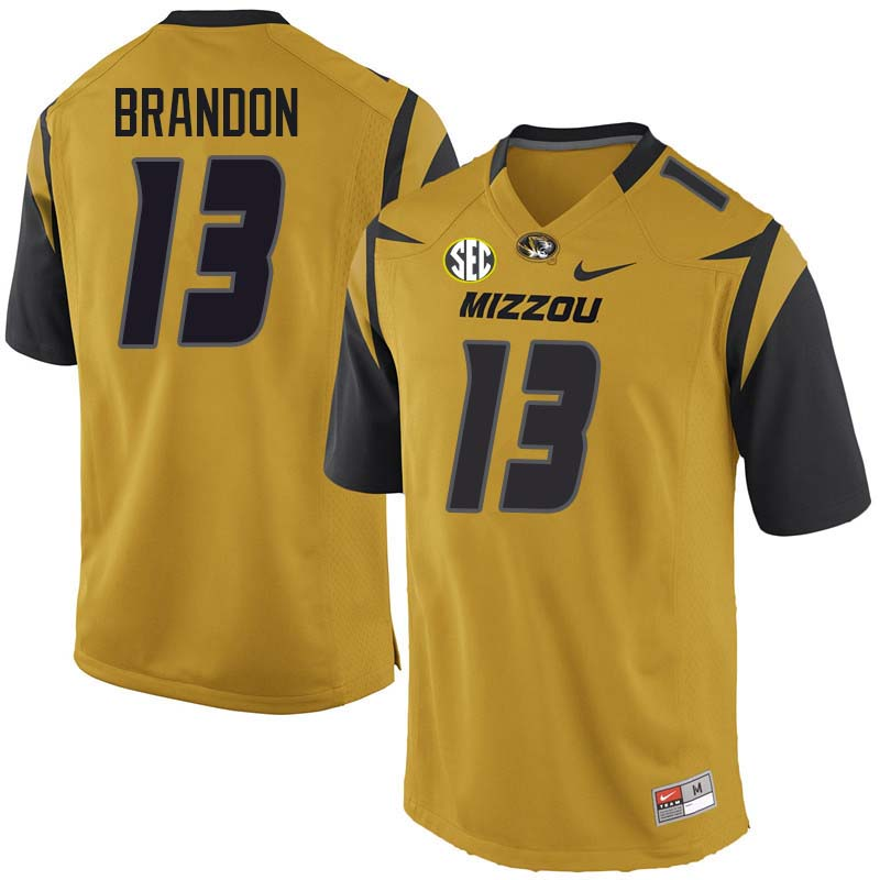 Men #13 Rashad Brandon Missouri Tigers College Football Jerseys Sale-Yellow