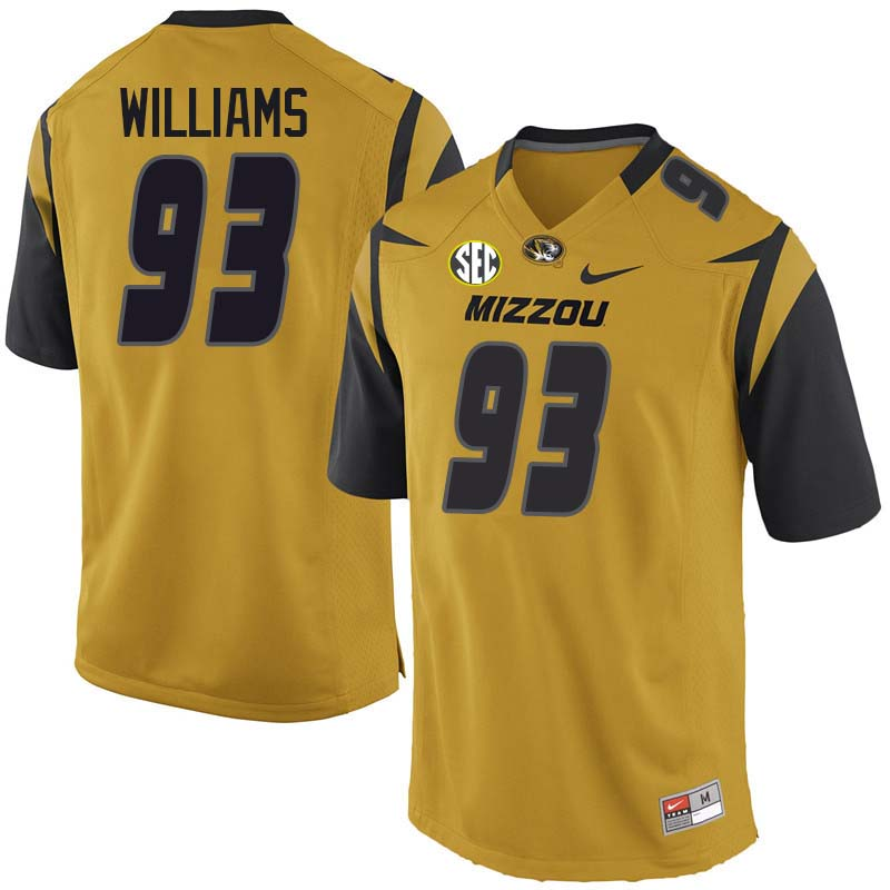 Men #93 Tre Williams Missouri Tigers College Football Jerseys Sale-Yellow