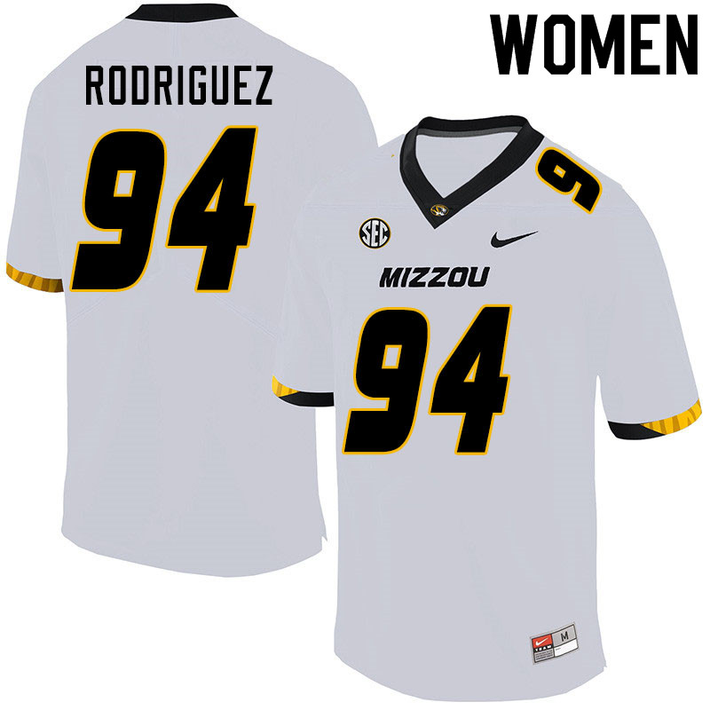 Women #94 Aaron Rodriguez Missouri Tigers College Football Jerseys Sale-White