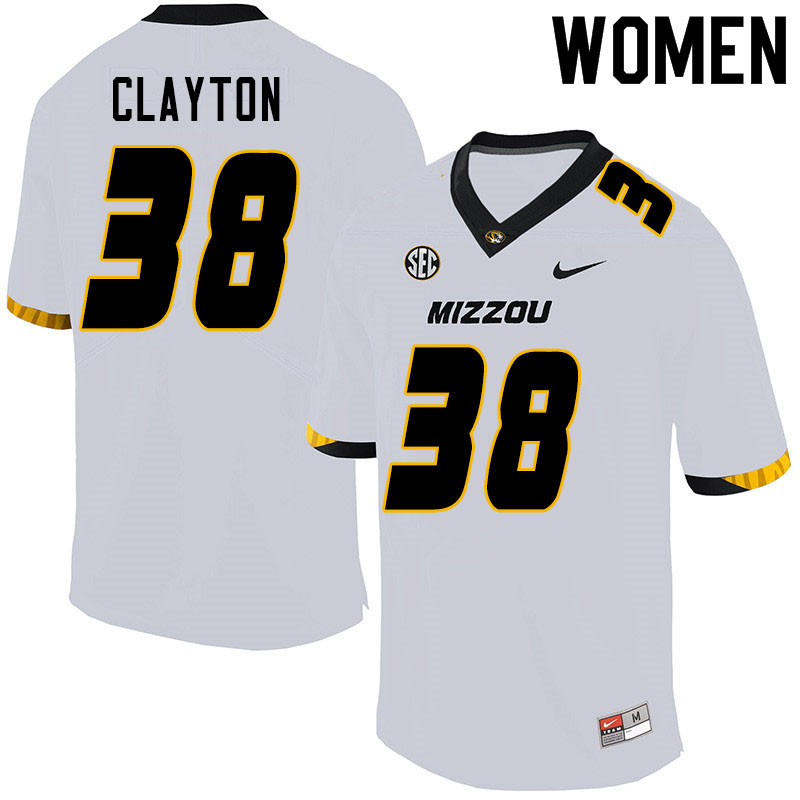Women #38 Bryson Clayton Missouri Tigers College Football Jerseys Sale-White