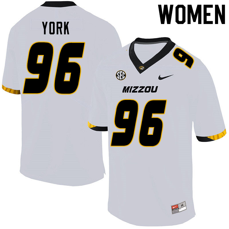 Women #96 Cannon York Missouri Tigers College Football Jerseys Sale-White
