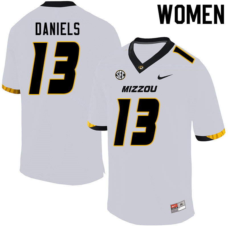 Women #13 Chris Daniels Missouri Tigers College Football Jerseys Sale-White