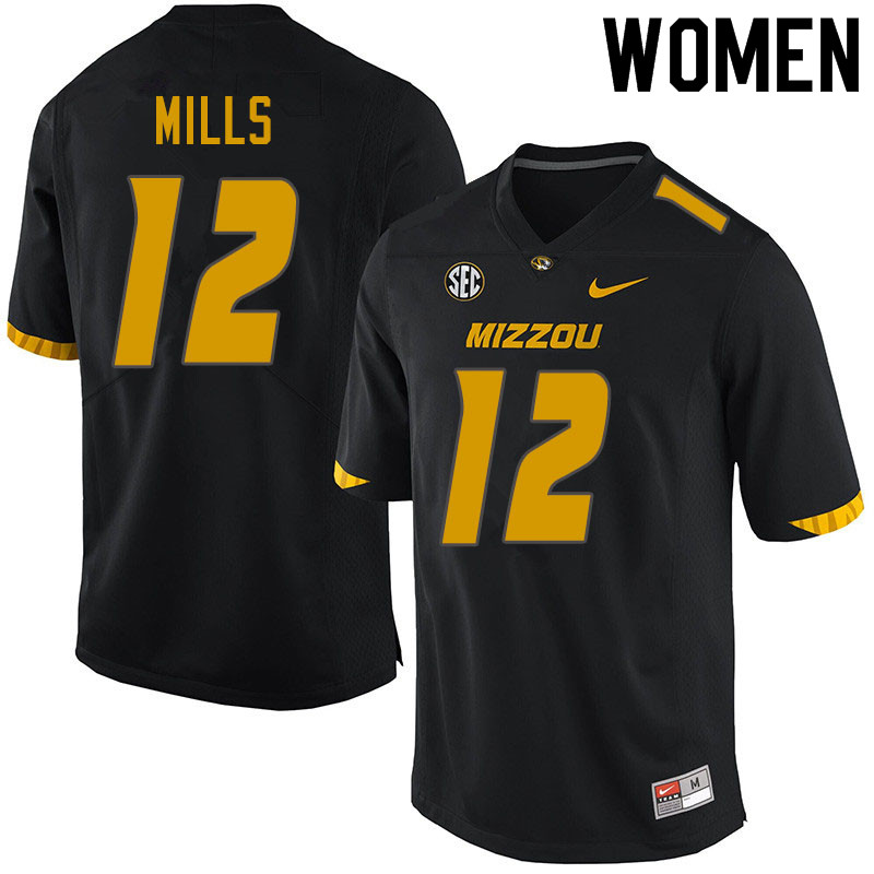 Women #12 Chris Mills Missouri Tigers College Football Jerseys Sale-Black