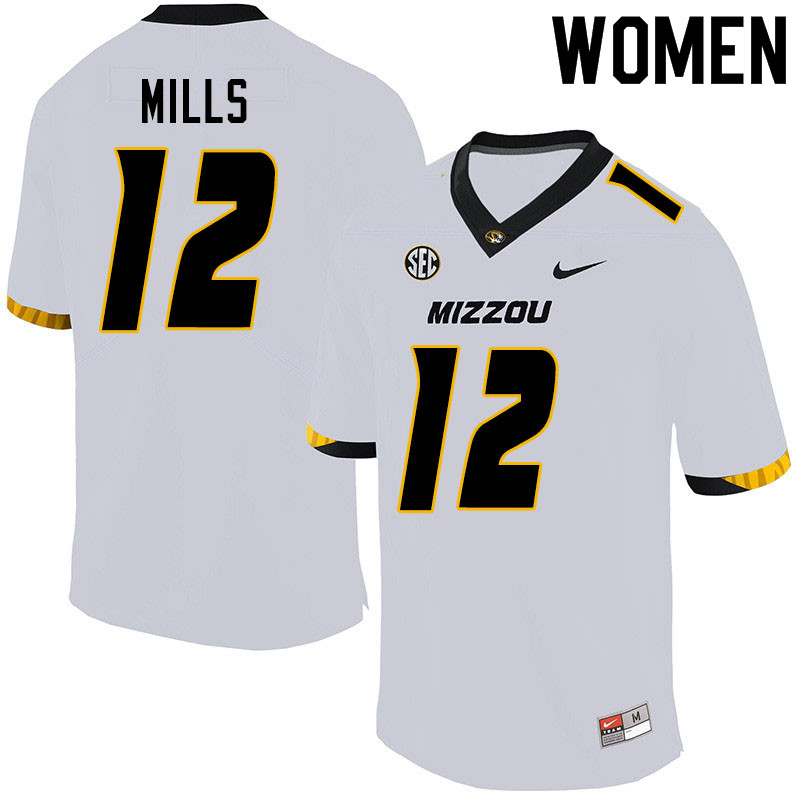 Women #12 Chris Mills Missouri Tigers College Football Jerseys Sale-White