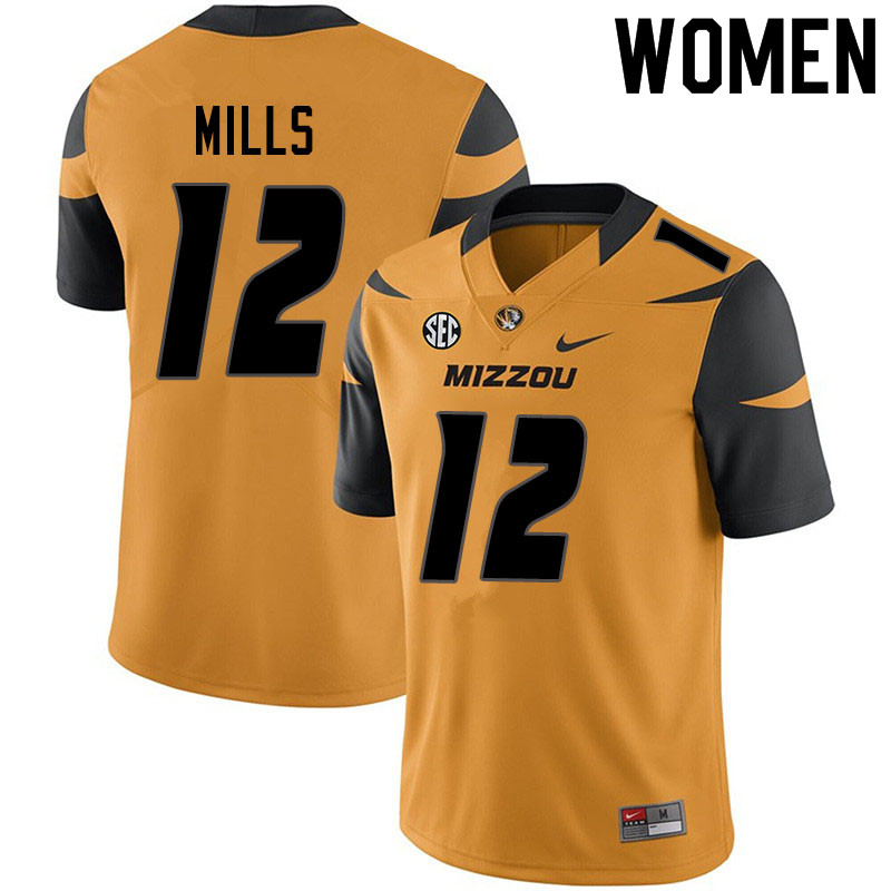 Women #12 Chris Mills Missouri Tigers College Football Jerseys Sale-Yellow