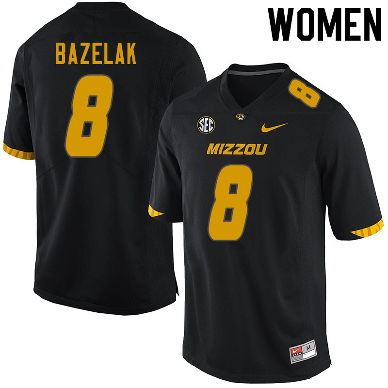 Women #8 Connor Bazelak Missouri Tigers College Football Jerseys Sale-Black