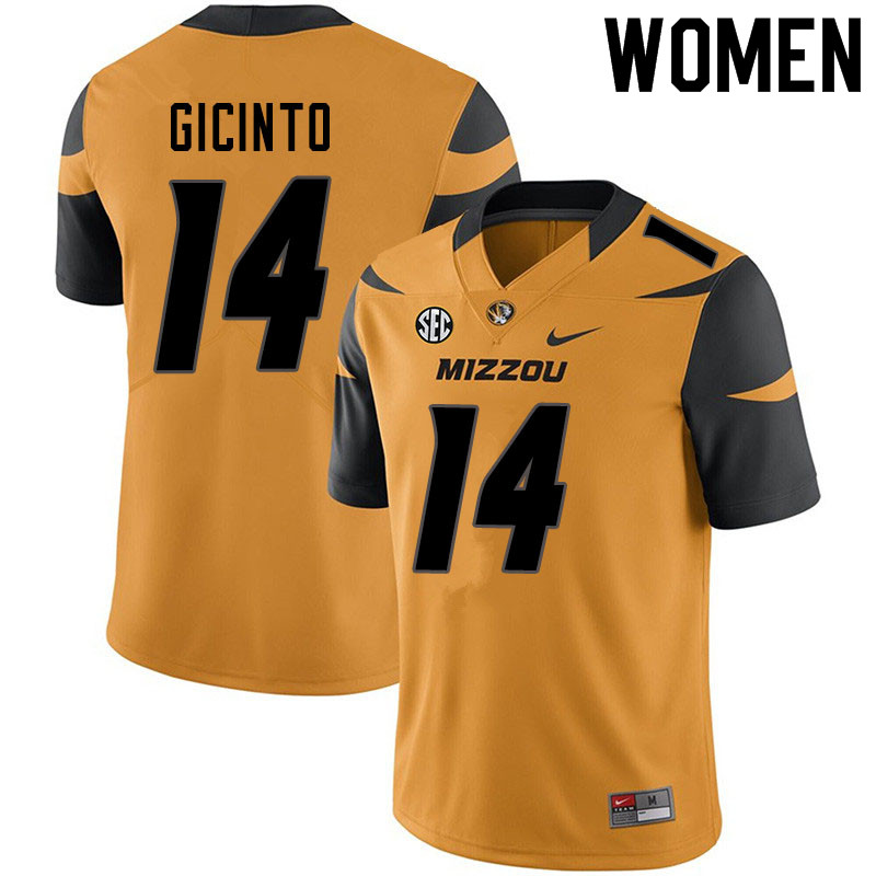 Women #14 Dominic Gicinto Missouri Tigers College Football Jerseys Sale-Yellow