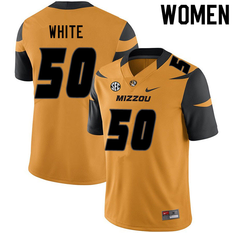 Women #50 Hyrin White Missouri Tigers College Football Jerseys Sale-Yellow