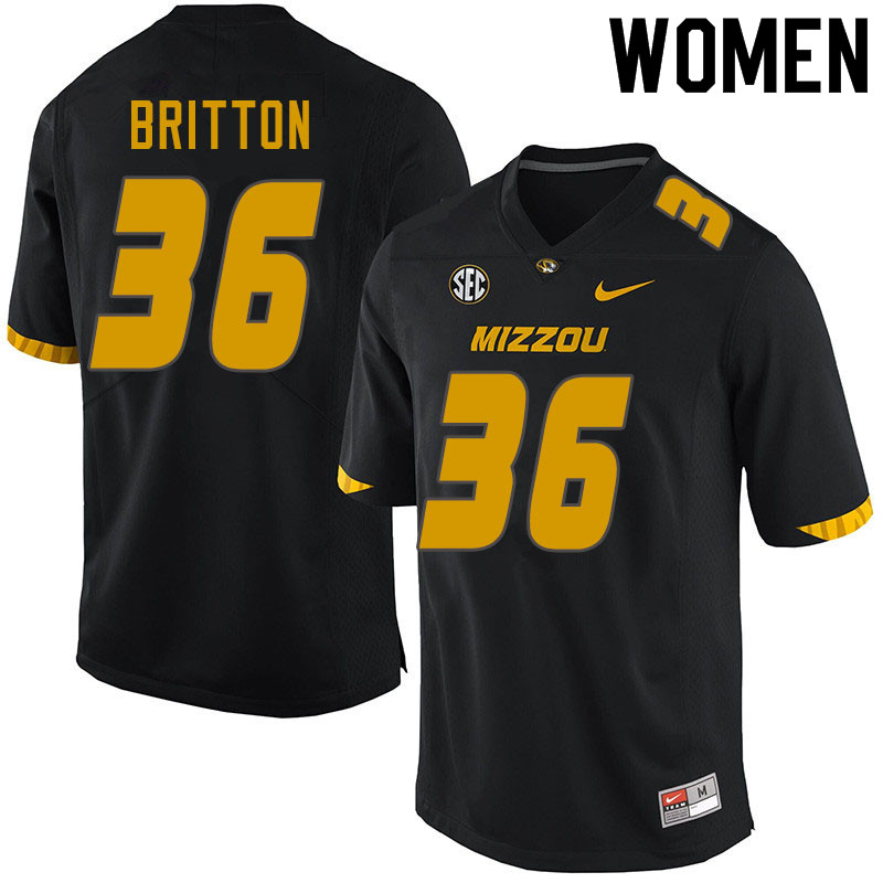 Women #36 Joe Britton Missouri Tigers College Football Jerseys Sale-Black