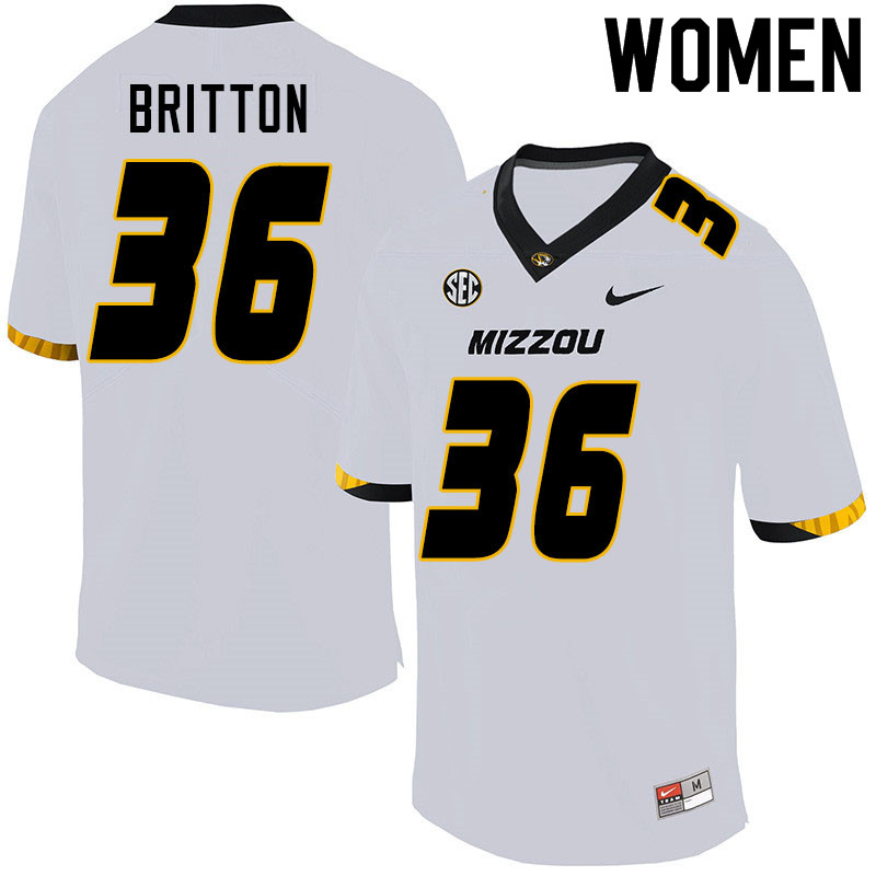 Women #36 Joe Britton Missouri Tigers College Football Jerseys Sale-White
