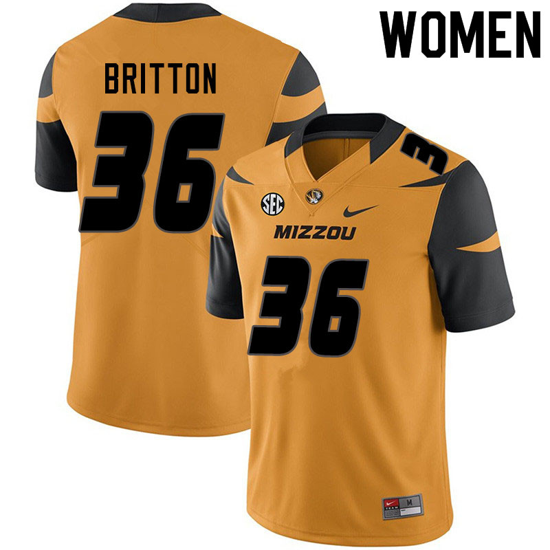 Women #36 Joe Britton Missouri Tigers College Football Jerseys Sale-Yellow