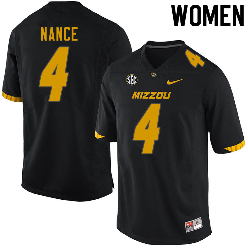 Women #4 Jonathan Nance Missouri Tigers College Football Jerseys Sale-Black