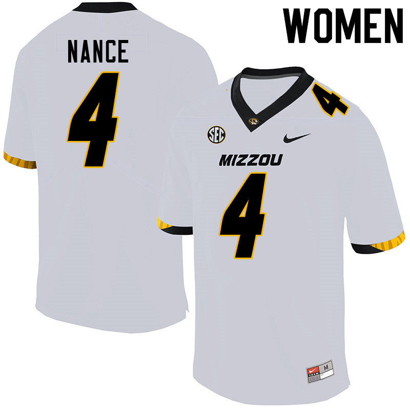 Women #4 Jonathan Nance Missouri Tigers College Football Jerseys Sale-White