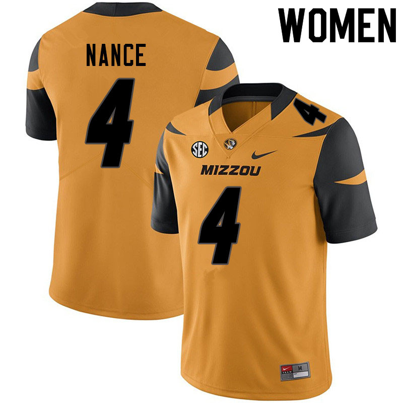 Women #4 Jonathan Nance Missouri Tigers College Football Jerseys Sale-Yellow