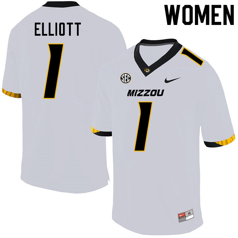 Women #1 Jordan Elliott Missouri Tigers College Football Jerseys Sale-White