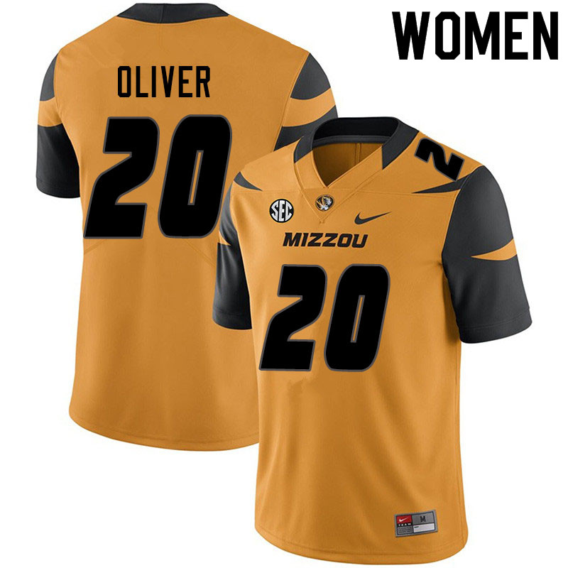 Women #20 Khalil Oliver Missouri Tigers College Football Jerseys Sale-Yellow