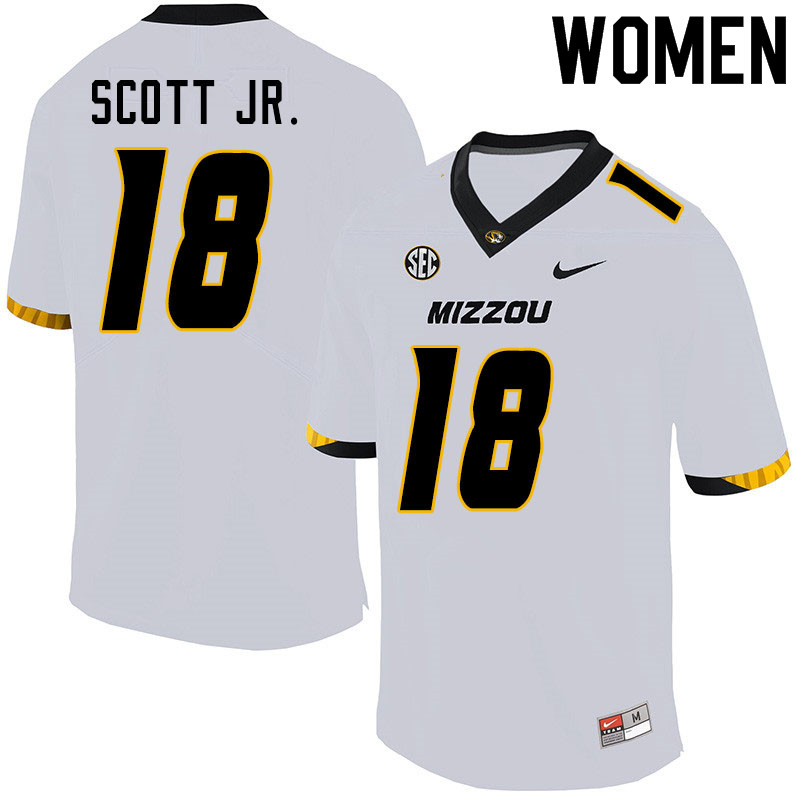 Women #18 Lindsey Scott Jr. Missouri Tigers College Football Jerseys Sale-White