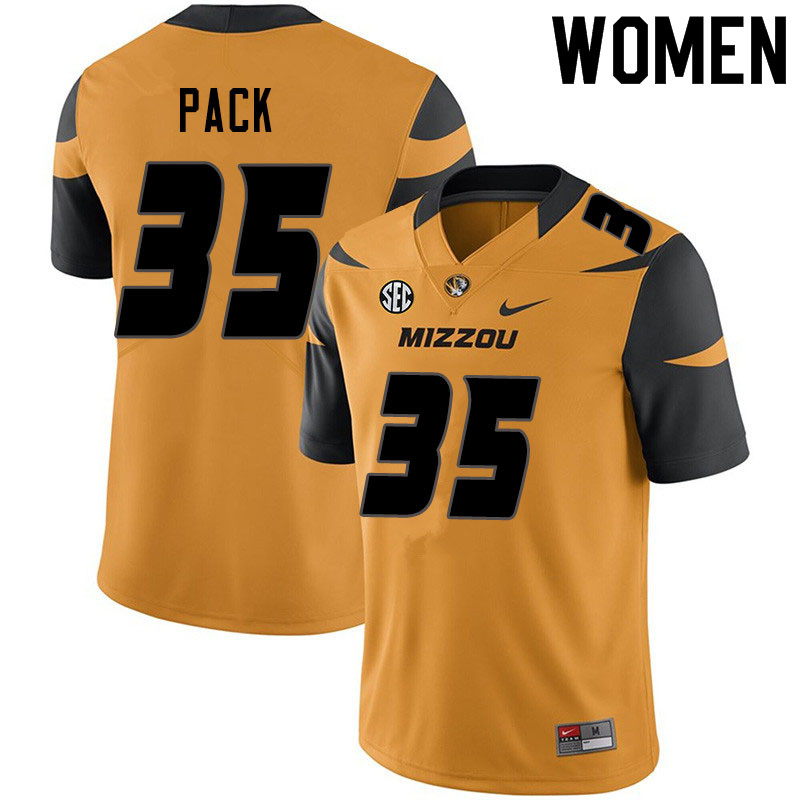 Women #35 Mason Pack Missouri Tigers College Football Jerseys Sale-Yellow