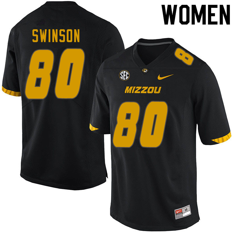 Women #80 Messiah Swinson Missouri Tigers College Football Jerseys Sale-Black