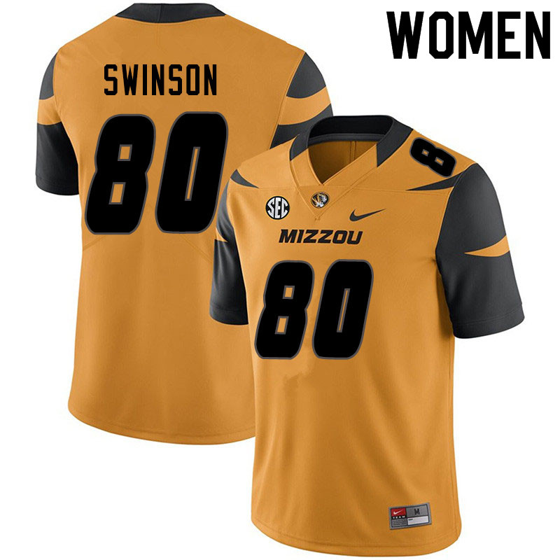 Women #80 Messiah Swinson Missouri Tigers College Football Jerseys Sale-Yellow
