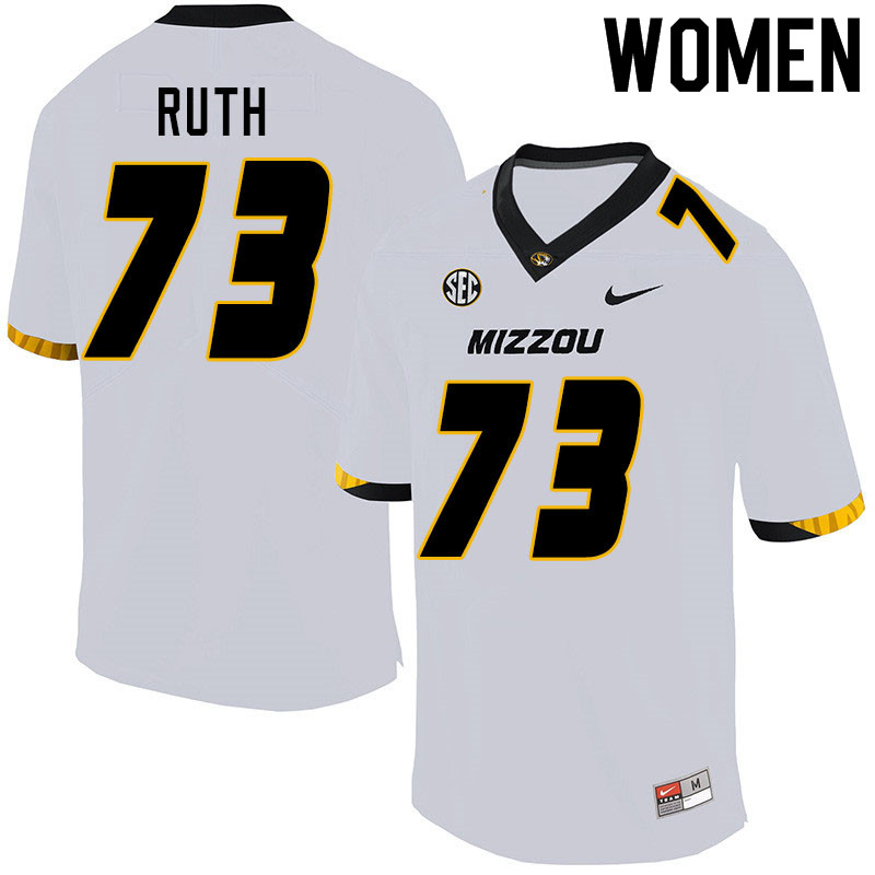 Women #73 Mike Ruth Missouri Tigers College Football Jerseys Sale-White